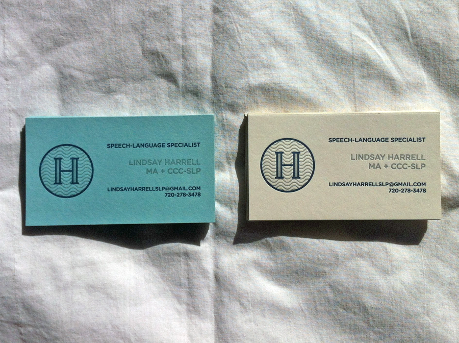 Harrell speech therapy business card shepherd letterpress colourmoves